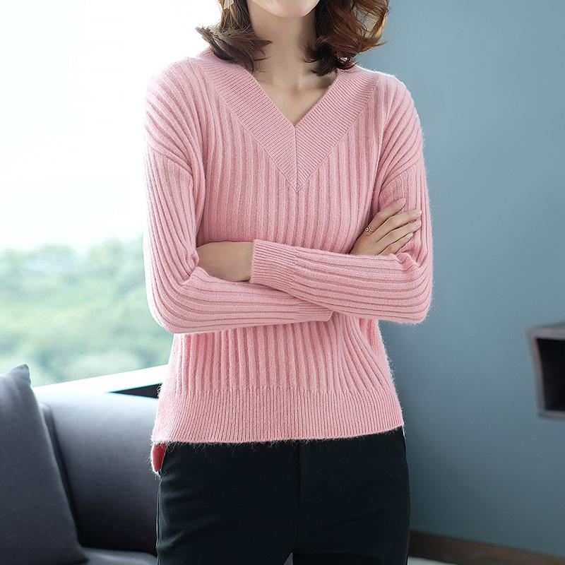 Hot Sale Winter Sweater Women 100 Pure Cashmere Knitwear New Fashion Vneck Pullover Soft High Quality