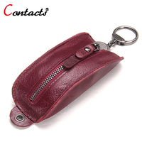 CONTACT S Wallets Men Housekeeper Key Bag Genuine Leather Car Key Organizer Keychain Case Women Housekeeper