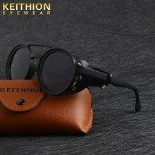 KEITHION Mannen Steampunk Goggles Zonnebril Vrouwen Retro Shades Fashion Leer Met Side Schilden Stijl Ronde zonnebril