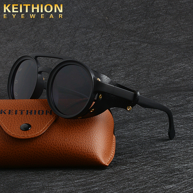 KEITHION Men Steampunk Goggles Sunglasses Women Retro Shades Fashion Leather With Side Shields Style Round Sun glasses