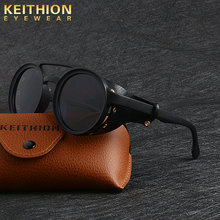 KEITHION Men Steampunk Goggles Sunglasses Women Retro Shades Fashion Leather Wit