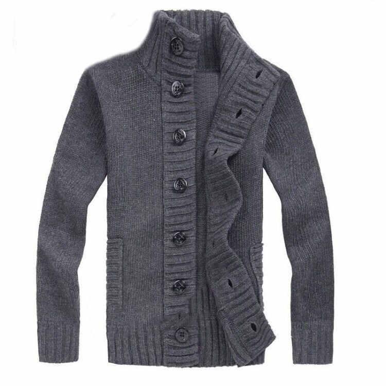 2018 Người Đàn Ông của Mùa Thu Đông Áo Len Mỏng Phù Hợp Với Dệt Kim Sweatercoat áo khoác Nam đứng cổ áo Cardigan Giản Dị Áo Len