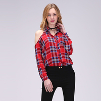 Autumn New Fashion Women Shirt Turn Down Collar Plaid Shirts Off Shoulder Style Ladies Tops Long