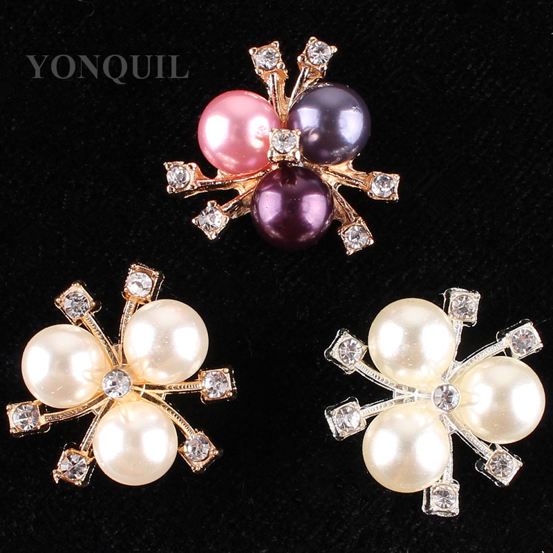 3 Colors Beautiful peals brooches pins material for womens hats wedding cloth decor DIY jewelry accessories 15pcs/lot SYBB97
