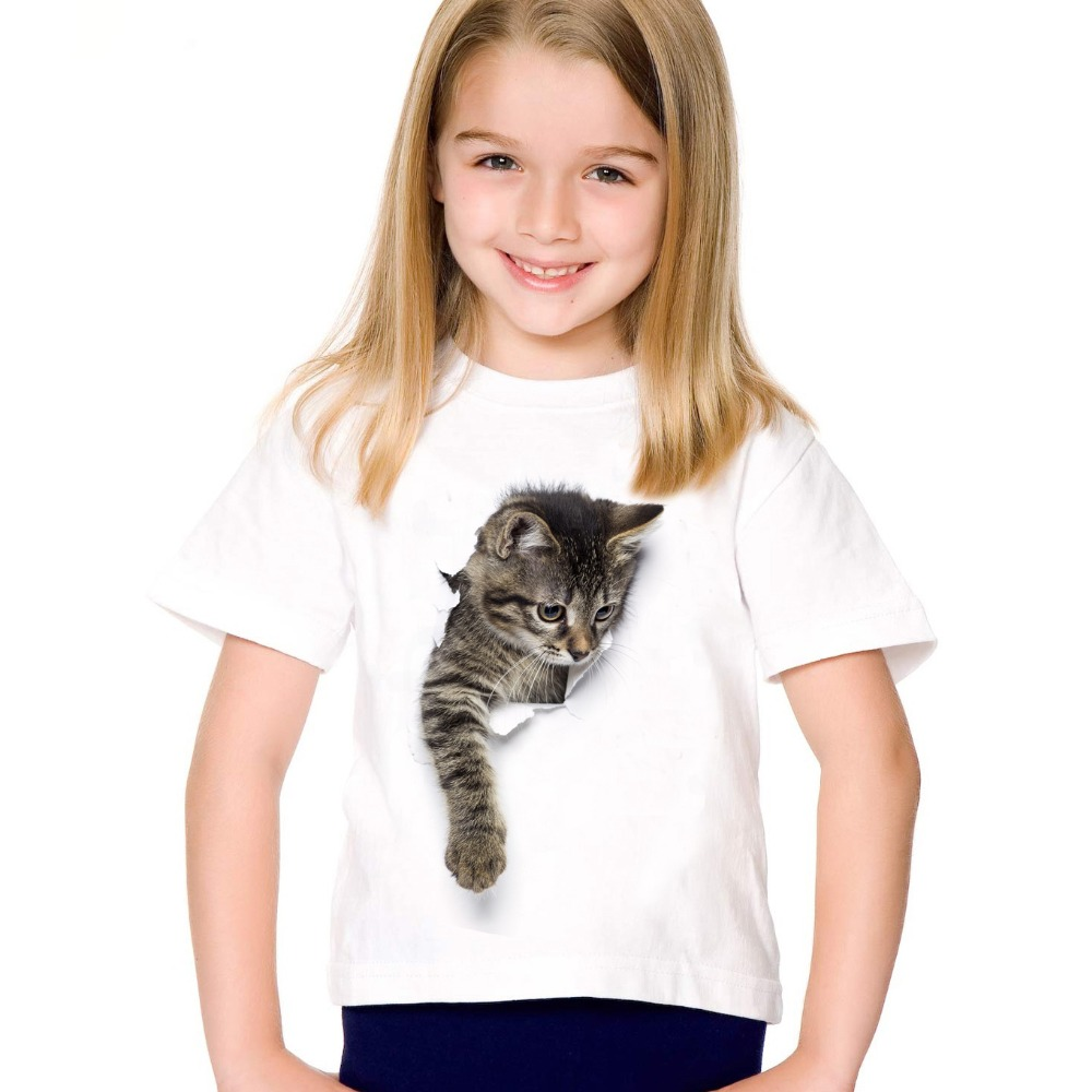 2017 fashion summer cute children brand clothing for kids girl short sleeve print 3d cat t shirts tops baby clothes funny cat tops tee shirts summer brand clothing short sleeve 2018 new fashion kids o neck cotton t shirts chikdren clothes mma