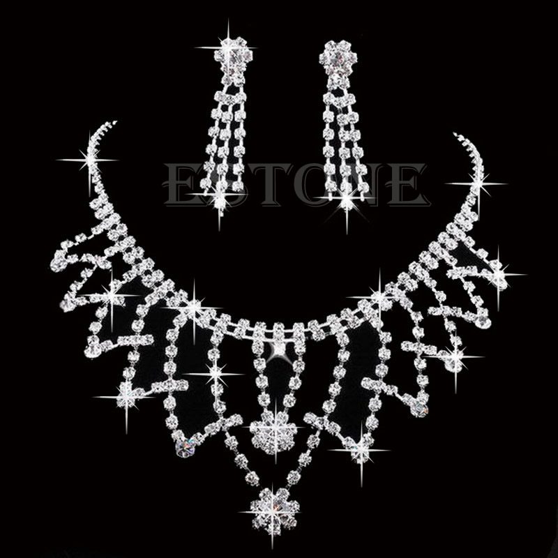 Wedding Bride Bridesmaid Crystal Rhinone Necklace Earring Prom Jewellery  Sets T52-in Jewelry Sets from Jewelry   Accessories on Aliexpress.com  6e53049dd7c6