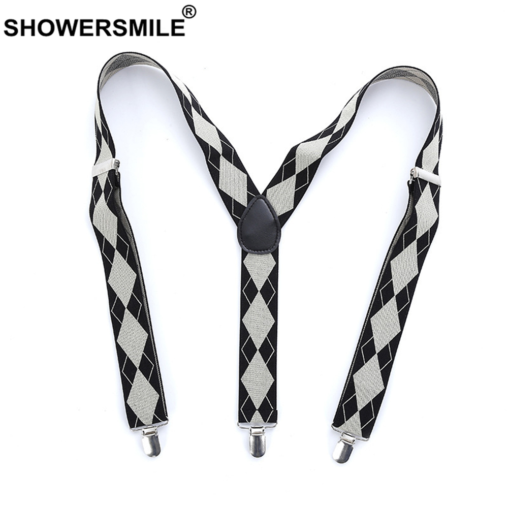SHOWERSMILE Mens Braces For Trousers Argyle Bussiness Formal Suspender 110cm 3 Clips British Elastic Adjustable Male Suspenders