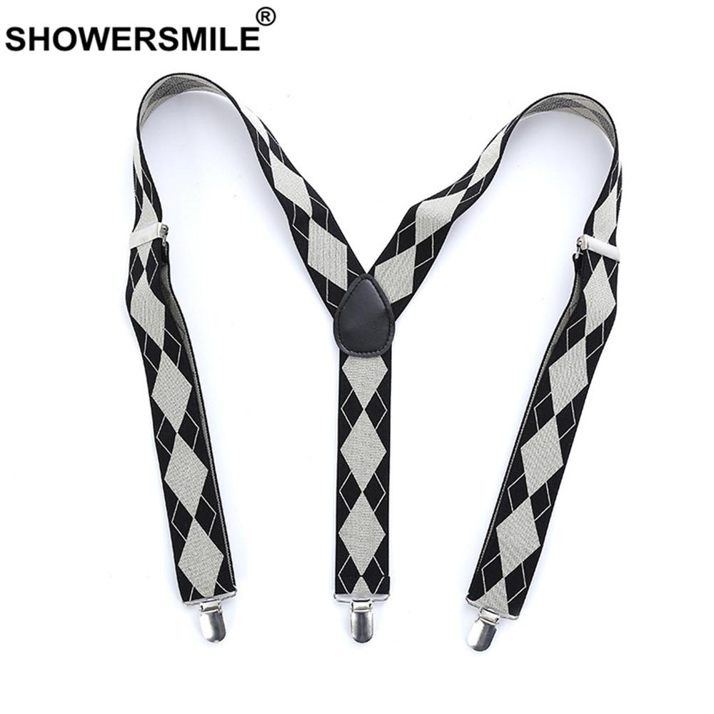 SHOWERSMILE Mens Braces For Trousers Argyle Bussiness Formal Suspender 110cm 3 Clips British Elastic Adjustable Male Suspenders