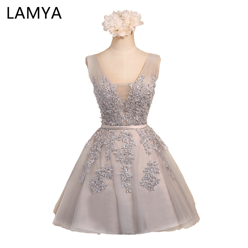 LAMYA Pink V Neck Plus Size A Line Lace Prom Dresses 2019 Gray Short Elegant Evening Party Gown Special Occasion Dress