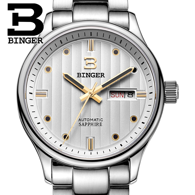 Switzerland men's watch luxury brand Wristwatches BINGER business Automatic men watch sapphire full stainless steel B5006-8 цена