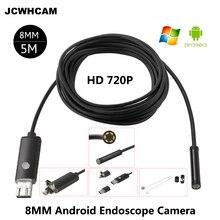 JCWHCAM HD 2MP 6 LED 8 مللي متر لين 1 متر 5 متر أندرويد USB التنظير IP67 فحص مضاد للماء Borescope أنبوب كاميرا OTG هاتف أندرويد 720P