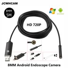 """JCWHCAM HD 2MP 6 LED 8 מ""""מ לן 1 M USB 5 M אנדרואיד טלפון אנדרואיד OTG המצלמה Tube Borescope אנדוסקופ פיקוח Waterproof IP67 720 P"""