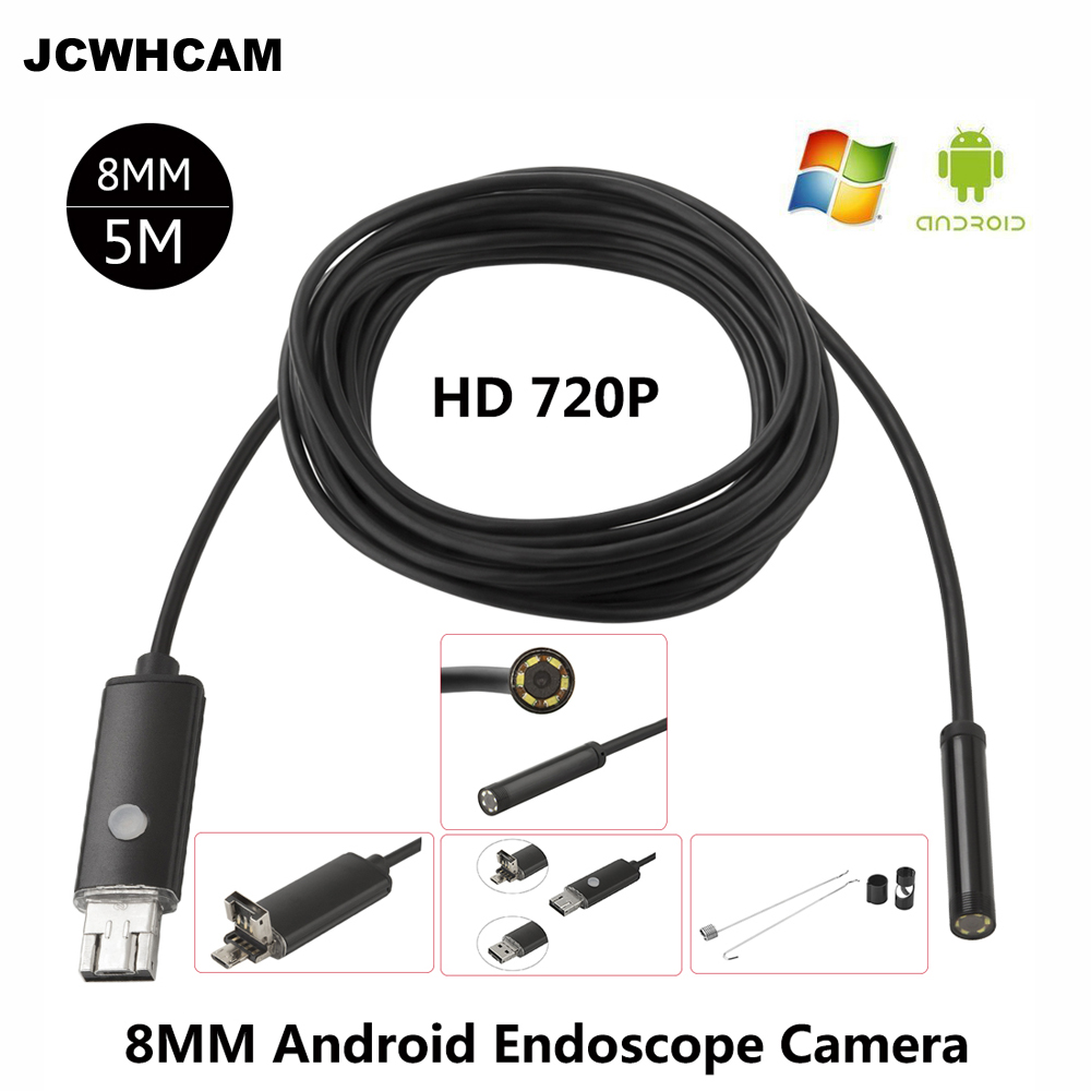 JCWHCAM HD 2MP 6 LED 8mm Len 1M 5M Android USB Endoscope IP67 Waterproof Inspection Borescope Tube Camera OTG Android Phone 720P endoscope 8mm usb endoscope android 1m 5m otg pc usb endoscopio mini endoscope camera 720p inspection waterproof phone camera