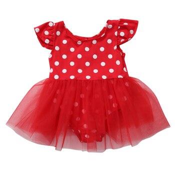 Vestidos para bebé de juguete Polka Dot vestido de bebé 2017 verano pequeña princesa bebé niña rojo Romper Tutu fiesta vestidos de ropa de verano