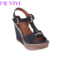 HEYIYI Shoes Women Sandals T Strap High Heels Wedges Platform Blue Camel Color Fashion Adjustable Buckle
