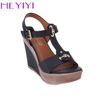 HEYIYI Shoes Women Sandals T Strap High Heels Wedges Platform Blue Camel Color Fashion Adjustable Buckle
