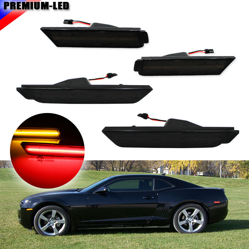 (4) Smoked Lens Front & Rear Side Marker Lamps with 96-SMD LED Lights For 2010-2015 Chevrolet Camaro (Front: Amber, Rear: Red)