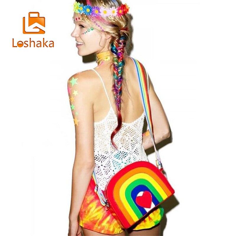 Loshaka New Fashion Women Rainbow Crossbody Bag Cute Red Heart Messager Bags Women's Colorful Messenger Bags Lolita Women Purse самокат novatrack rainbow 120 red складной 120rainbow rd7
