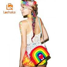 Loshaka New Fashion Women Rainbow Crossbody Bag Cute Red Heart Messager Bags Womens Colorful Messenger Lolita Purse