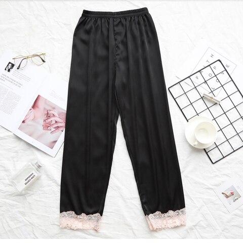 27a3bbad9 ... Fdfklak Spring Summer Faux Silk Pajama Pants Lace Sleep Bottoms Pyjama Trousers  Women Black/Navy ...