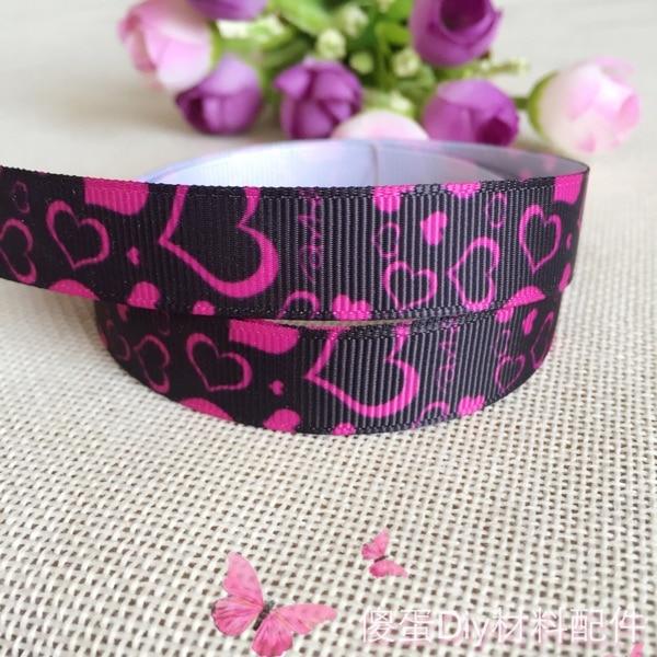 "5/8""16mm free shipping  heart valentine love printed polyester ribbon , DIY handmade materials, wedding gift wr 10 yards"