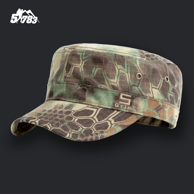 13e8f5187c6 Pure Cotton Ripstop Jungle Camouflage Flat Cap Army Cadet Field Hat  Snapback Breathable Military Style Tactical Hunting Hat Cap
