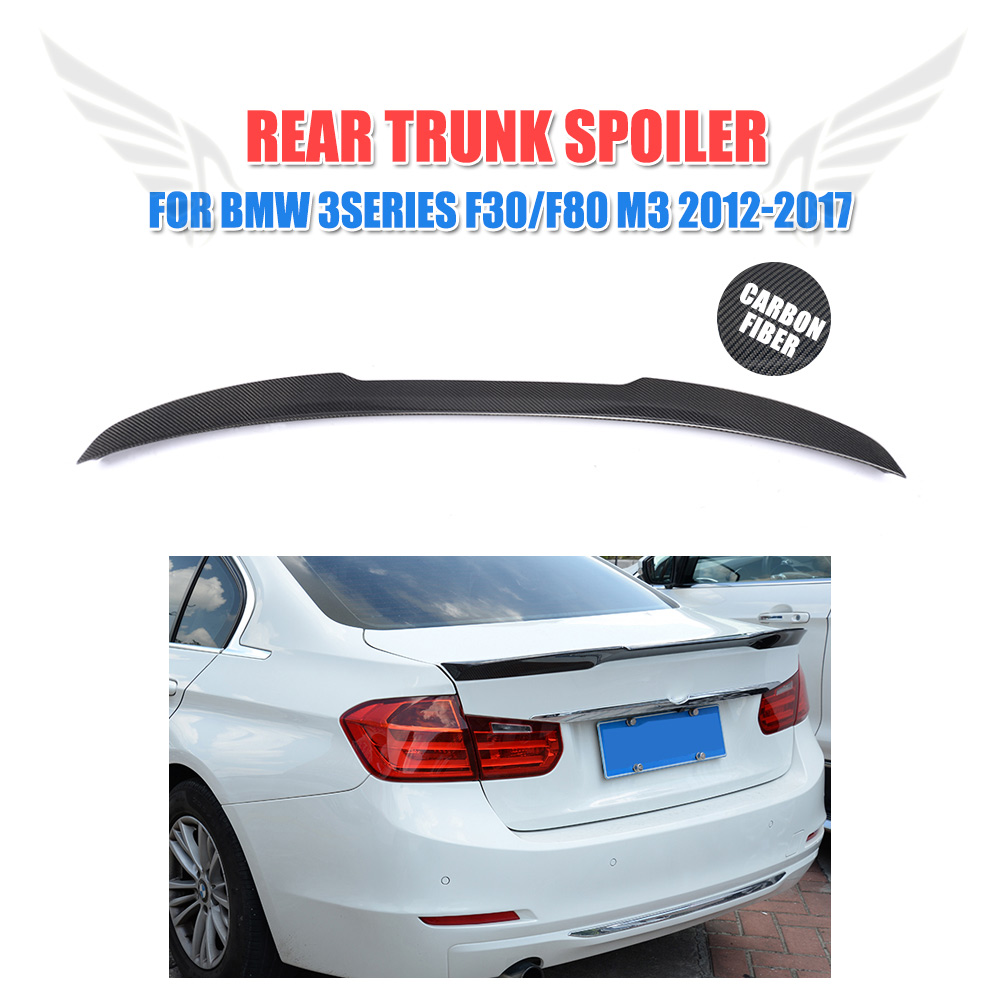 Carbon Fiber Rear Spoiler Trunk Boot Lid Wing Sticker for BMW 3 Series F30 F80 M3 316i 318i 320i 328i 335i 12-17 M style 2012 2016 f30 m performance style carbon fiber trunk spoiler for bmw 3 series f30 316i 318i 320i 328i 335i f80 m3 car styling