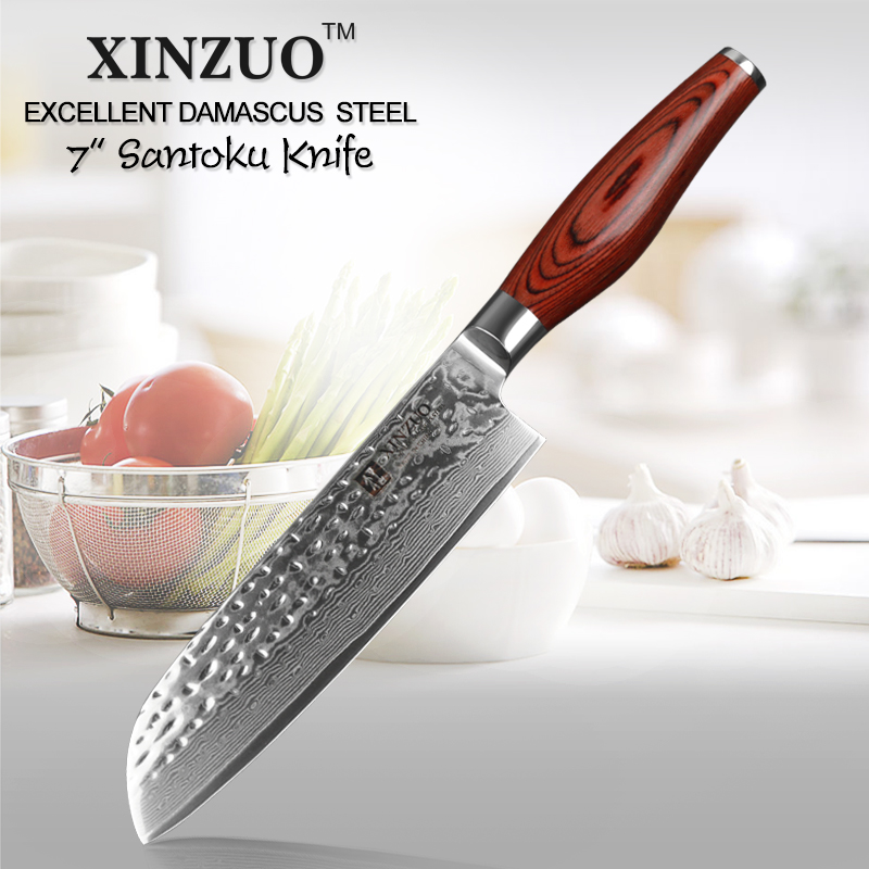 XINZUO High Quality 7 Santoku Knife 73 layer Japanese VG10 Damascus Steel Kitchen Knife Very Sharp