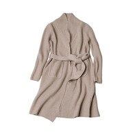 Высокий класс 100% козья кашемир толстый вязаный для женщин Мода пояса длинный кардиган свитер пальто бежевый верблюд один и более размеры
