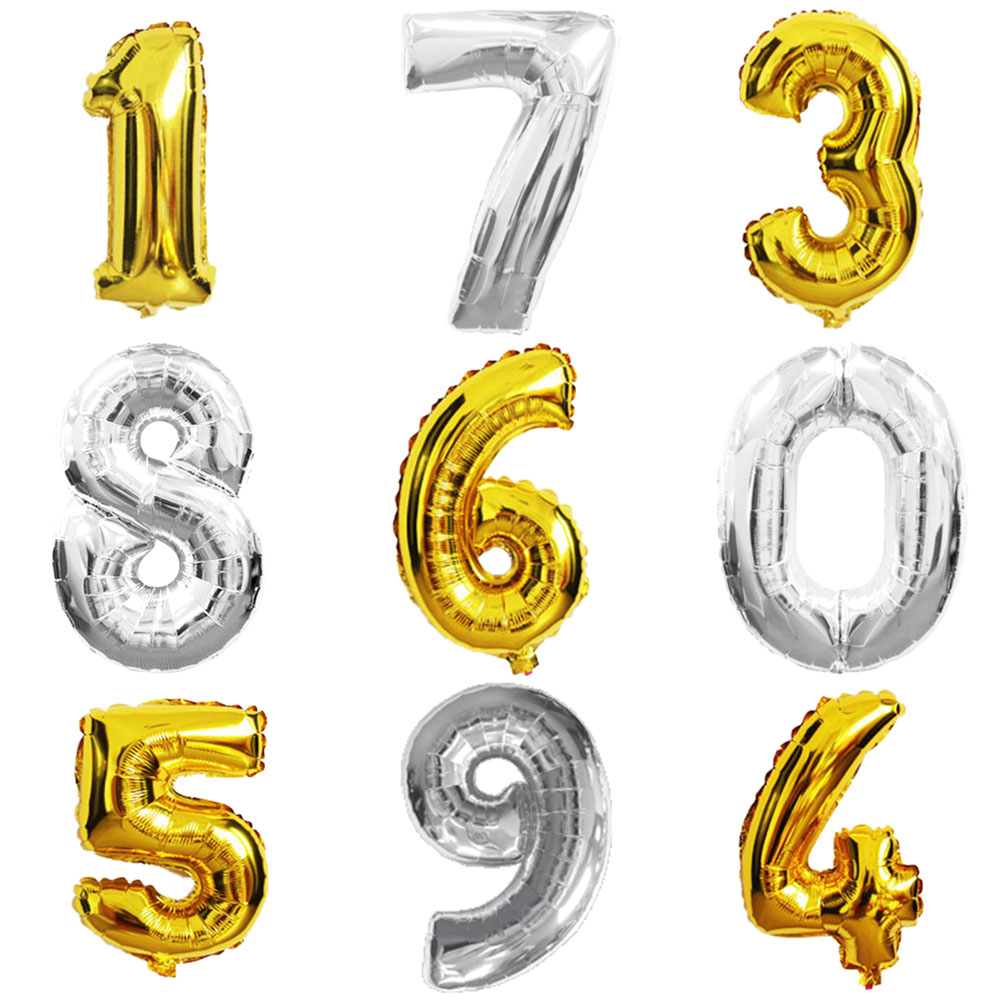 40 inches Gold Silver Number Foil Balloons Large Digit Helium Ballons inflatable wedding decoration Birthday Party Supplies