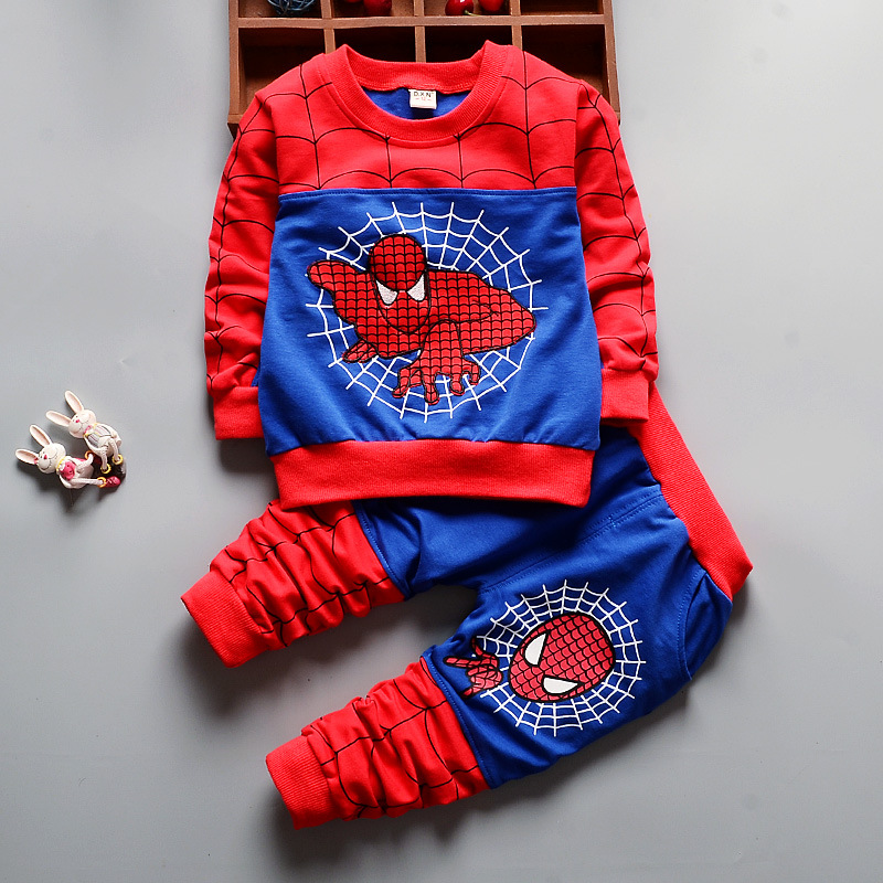 2018 Children Kids Spiderman Baby Boys Cotton Clothing set Long Sleeves T Shirt Hoddies Zipper Vest Patchwork Pants 3PCS Sets