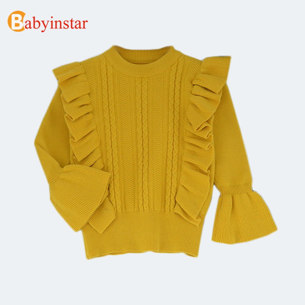 Babyinstar Baby Girls Sweaters 2018 New Girl Knitted Clothes Autumn Solid Color Sweater For Girls Ruffles Design Kids Clothes pink solid color off shoulder crop bodycon sweaters vests