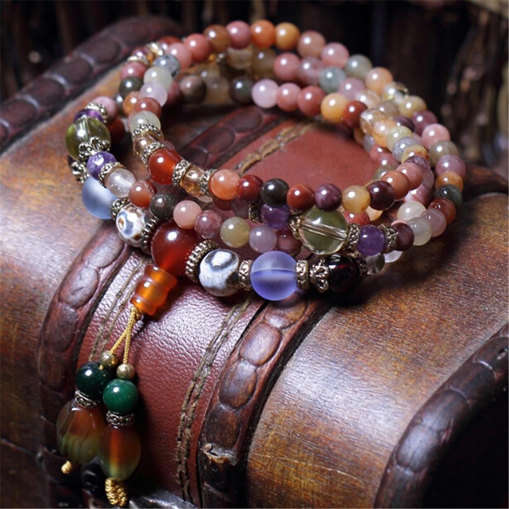 Mode 5mm Bracelet en cristal naturel Multi couleur 108 perles main perlée Bracelet prière Mala pour hommes ou femmes méditation livraison directe
