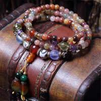 Fashion 5mm Natural Crystal Bracelet Multi Color 108 Beads Hand Beaded Bracelet Prayer Mala for Men or Women Meditation Dropship