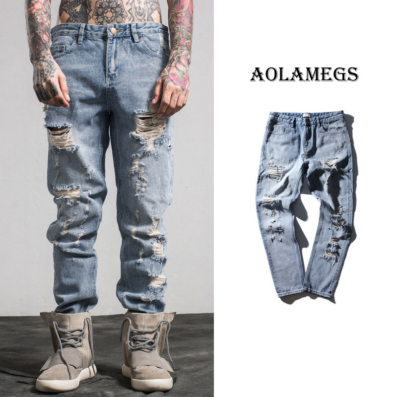 Aolamegs Men Denim Pants Boys Washed Ripped Stripped Jeans Pants Homme Fashion Casual  Men Begger Trousers Tide Brand Bottoms