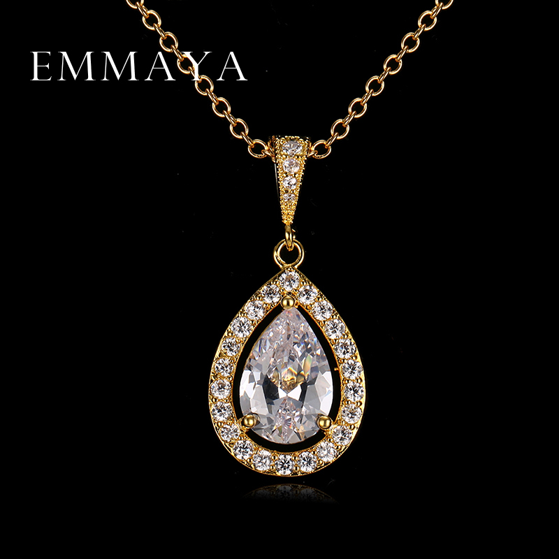 Water Drop Necklace Pendants Top Quality White Gold Plated Women High Fashion Crystal Jewelry