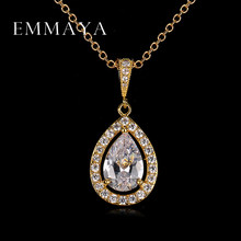 Emmaya Water Drop Necklace Pendants Top Quality White Gold Color Women High Quality Necklace Fashion Crystal Jewelry(China)