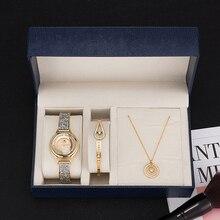 Zomfei coffret cadeau 3 pièces pour femmes, montre bracelet de luxe, bracelet en acier inoxydable, ensemble de colliers, style populaire et intelligent