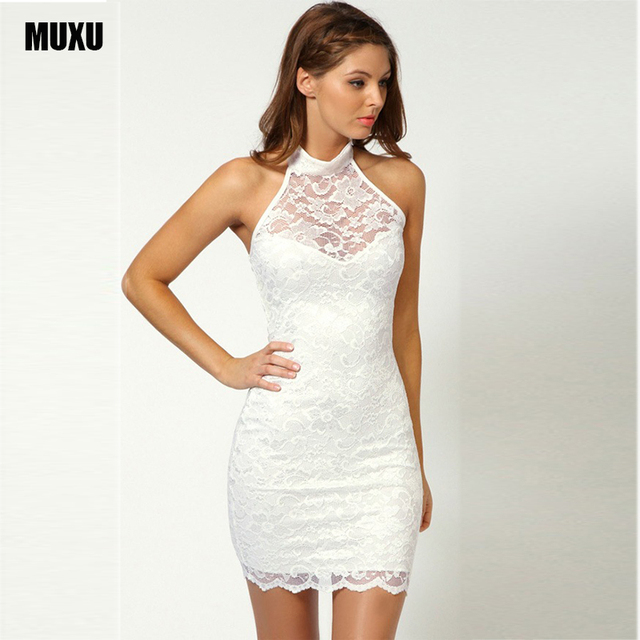 d67228b9298 sexy bodycon dress short backless dress crochet sleeveless lace dress  transparent white women vestidos summer party plus size