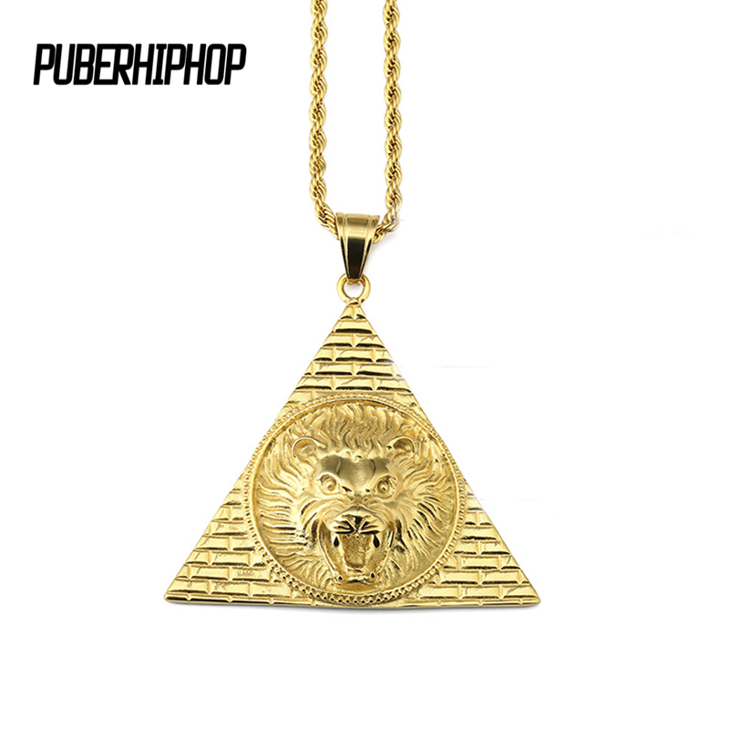 2017 Hot Sale Pyramid Lion Head Necklace HipHop Gold Chains For Men Stainless Steel Pendant Necklace