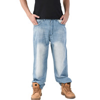 MORUANCLE Men S Baggy Hip Hop Jeans Pants Light Blue Loose Skateboard Denim Trousers For Big