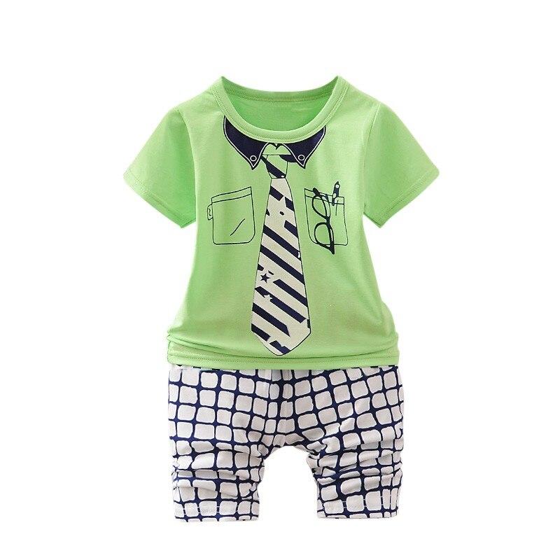 2 шт. для маленьких мальчиков одежда набор детей летние для маленьких мальчиков комплект одежды с рисунком 2018 новая детская мода хлопок Симп...