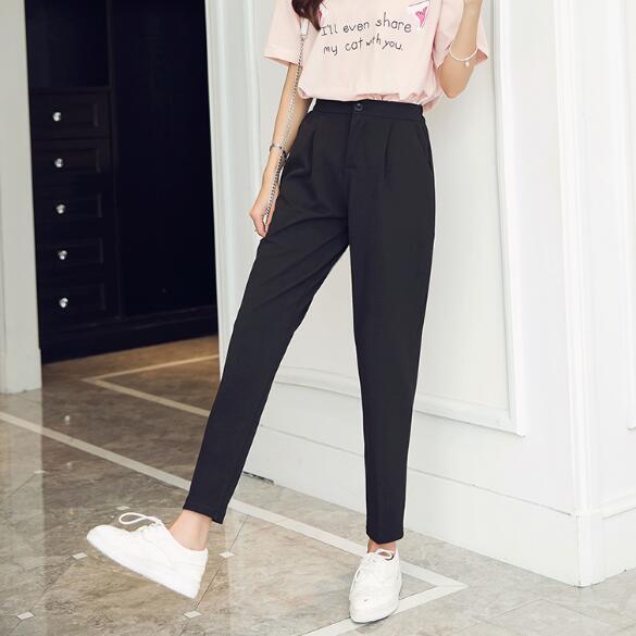 nouveau concept 5ede4 6fce2 € 9.6 52% de réduction 2018 été coréen femme classique taille haute  élastique Harem pantalon femmes mode mince couleur unie cheville longueur  pantalon ...