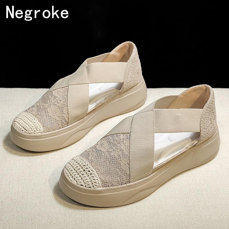 Platform Sandals Flats Summer Shoes Elastic Women Mesh Casual Mujer Retro Sewing