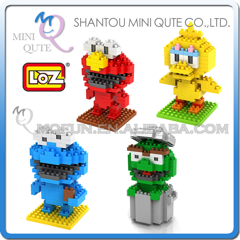 4pcs/lot  Mini Qute 4 styles loz 3d kawaii Sesame Street Elmo block plastic cube building block brick educational toy game loz street view architecture building brick 303pcs