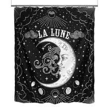 Rideau de douche de Lune en tissu imperméable Rat La Lune, en tissu imperméable, noir et blanc, pour décoration de salle de bain