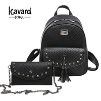 Kavard Brands Backpack Women Backpacks High Quality Pu Leather Back Pack With Purse Rivet Plaid School