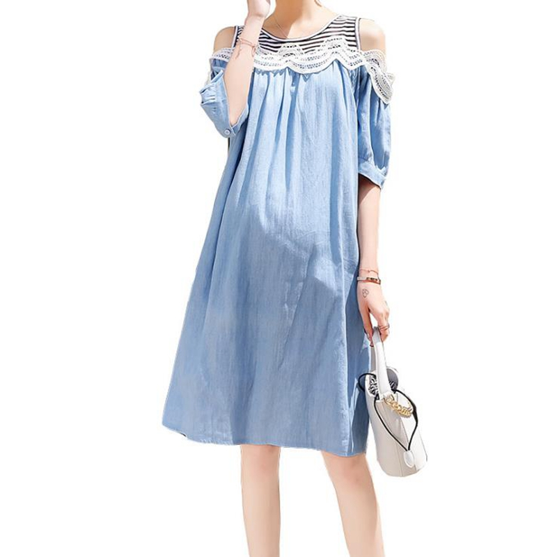Summer New Maternity Dress Loose Cotton Strapless Pregnancy Dress Lace Maternity Top Elegant Maternity Dress robe grossesse