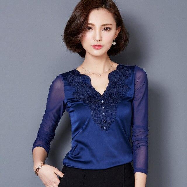 72b4ef1118 Moda feminina Cetim Regular Completo Bordado Floral Com Decote Em V Blusas    Camisas Blusas Camisa