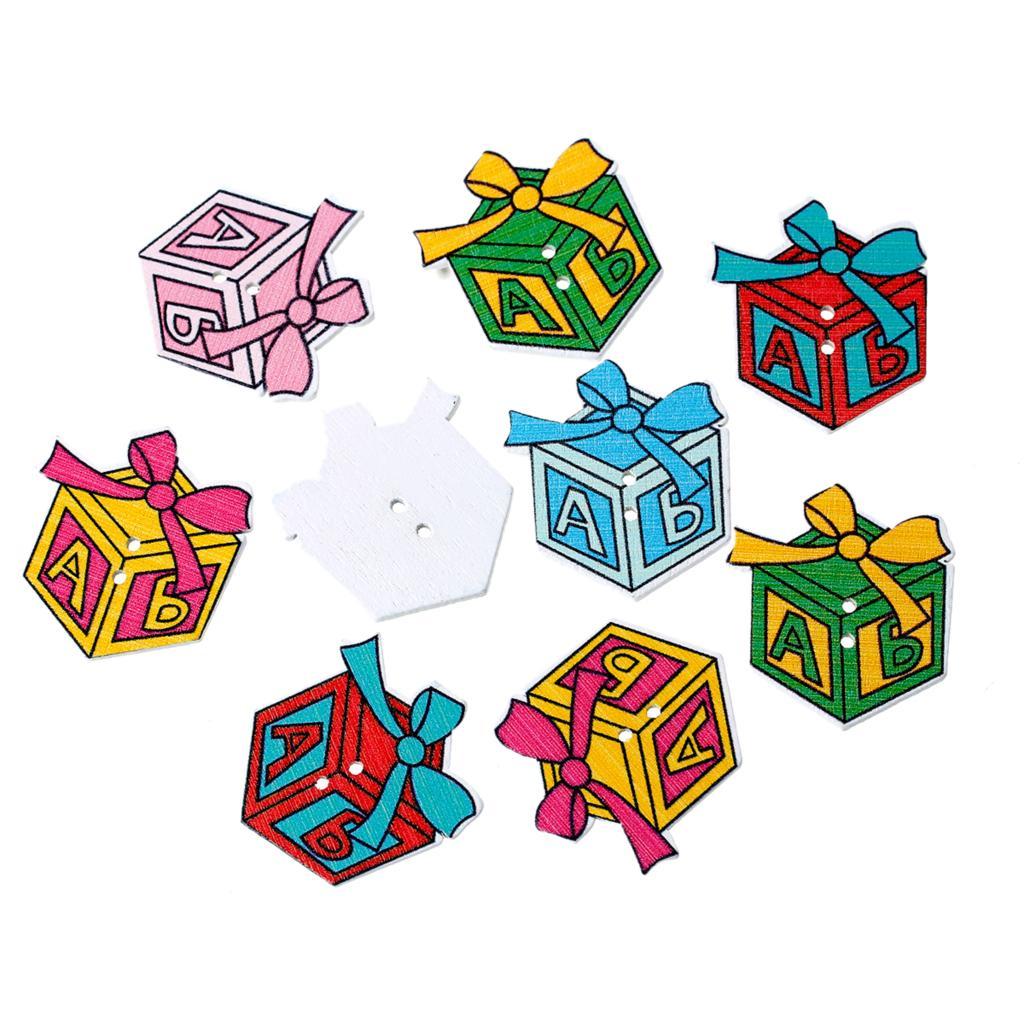 ⑤Doreenbeads madera Costura scrapbooking botón caja de regalo al ...